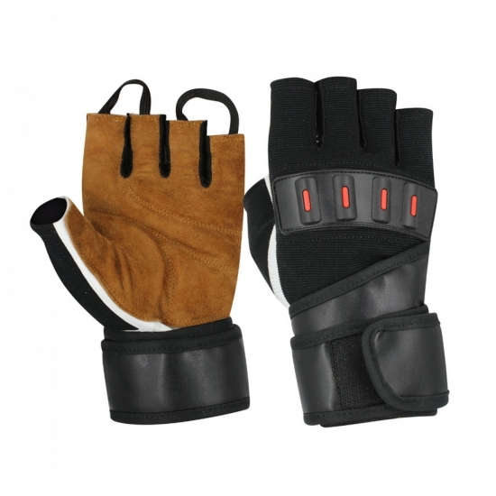 Finger less Suede Leather Gloves